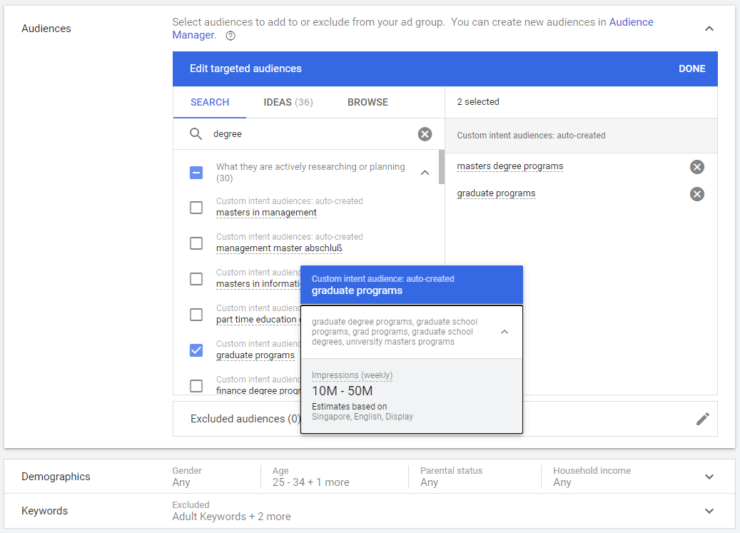 Define Audience Persona on Google Ads
