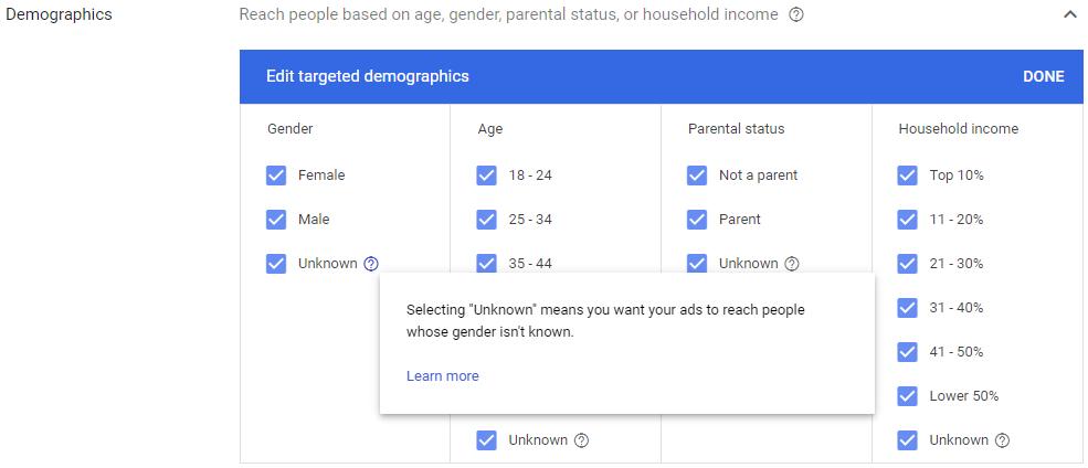 Demographics Targeting on Google Ads
